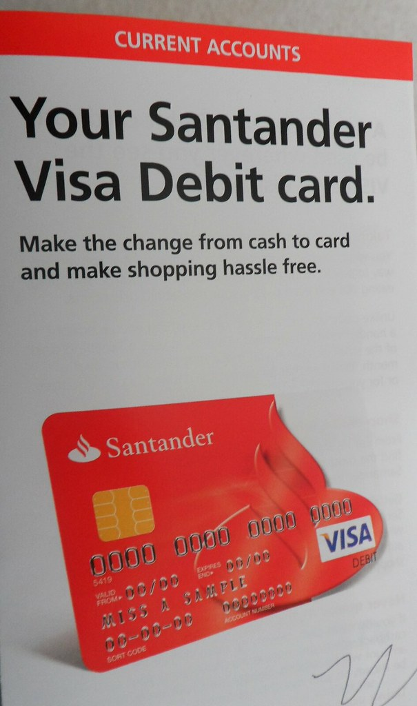 Santander visa debit card leaflet if you use our photos - Cad santander ...