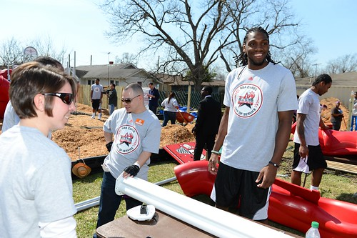 NBA Denver Nuggets star Kenneth Faried at a KaBOOM! build in Houston | by kaboomplay