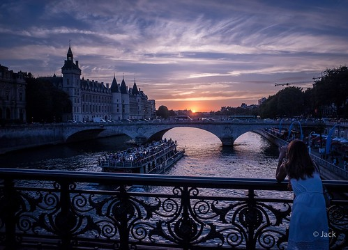 colored Paris sunset