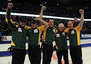 Edmonton Ab.Mar10,2013.Tim Hortons Brier.Northern Ontario (L-R) fith Matt Dumontelle,Ryan Harnden,E.j.Harnden,Tom Coulterman,Brad Jacobs.CCA/michael burns photo | by seasonofchampions