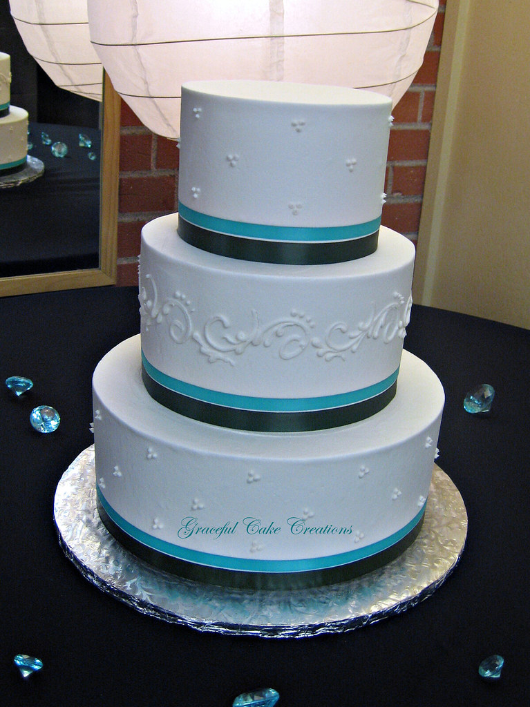 Purple And Turquoise Beach Wedding Cakes