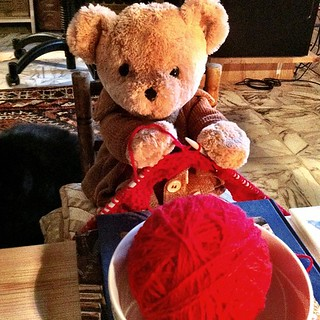 "This morning bear is busy. What are you doing?  ""I'm knitting a woolen scarf"", said Bear. ""It's freezing where I go!"" 