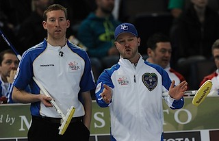 Edmonton Ab.Mar5,2013.Tim Hortons Brier.British Columbia skip Andrew Bilesky,third Steve Kopf.CCA/michael burns photo | by seasonofchampions