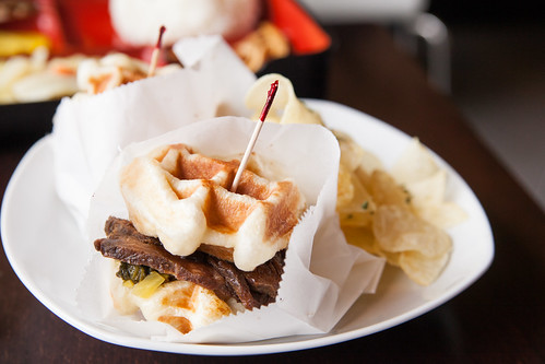 Beef & Preserved Vegetable Waffle Sandwich | by johnnywangphotography