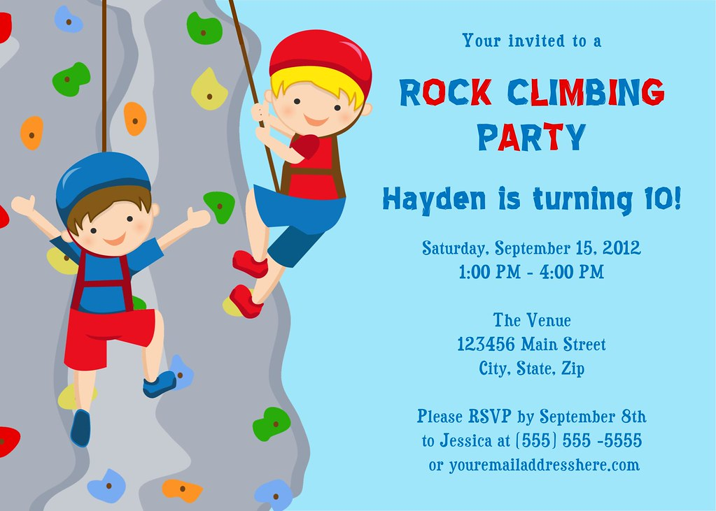 Printable Rock Climbing Birthday Party Invitation | I have m ...