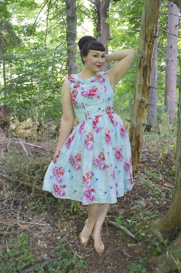 hell bunny vintage floral chiffon dress