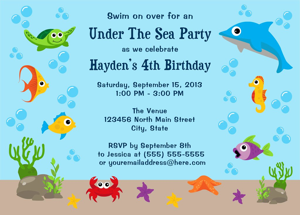 under the sea birthday party invitation i have many more c flickr