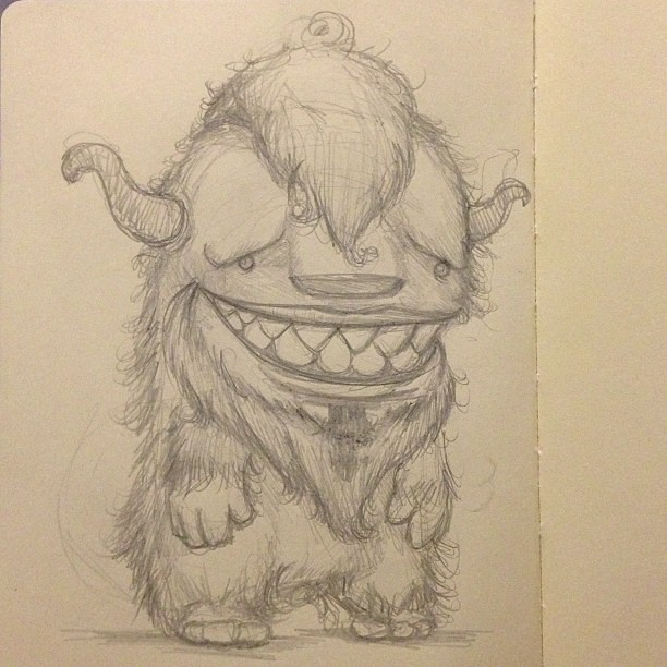 Weird fuzzy monster. #drawing #sketching #pencil #monster ...