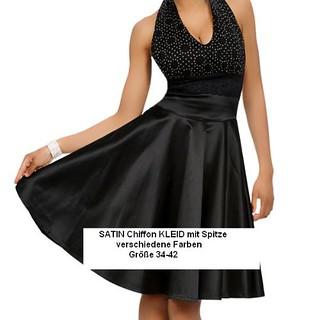 SATIN Neckholder Kleid Abendkleid mit CHIFFON und SPITZE ...