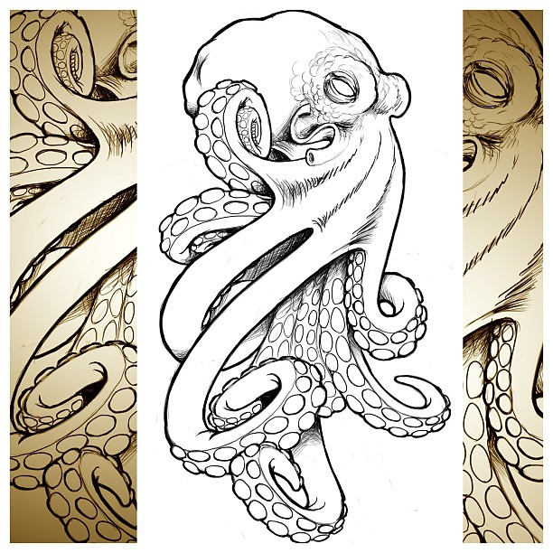 cool octopus i whipped up for a client tattoo technique flickr. Black Bedroom Furniture Sets. Home Design Ideas
