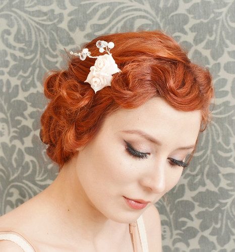 Rose Comb Small Flower Hair Piece Pink Hair Comb Bridal