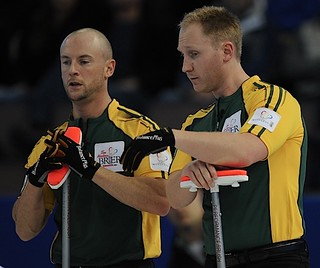 Edmonton Ab.Mar10,2013.Tim Hortons Brier.Northern Ontario skip Brad Jacobs,third Ryan Fry,CCA/michael burns photo | by seasonofchampions
