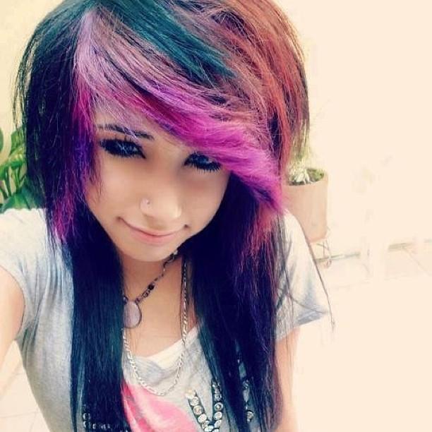 Pleasant Emo Girl Pretty Hair Green Pink Black Cute Eyes Flickr Short Hairstyles Gunalazisus