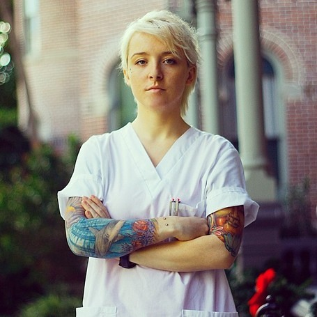 Tattooed nurse blonde tattooed nurse with full sleeve for Inkslingrz professional tattoos and body piercing