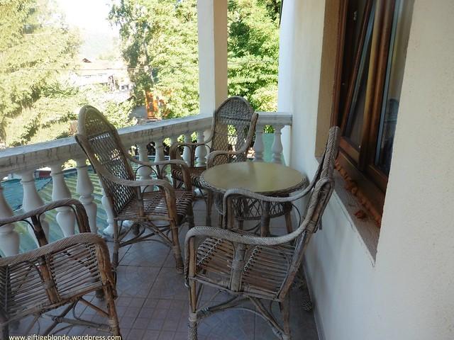 Terrasse unseres Zimmers im Hotel Eki, Bosanska Krupa
