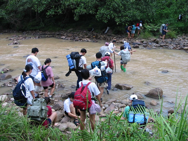 Img_1437 Group crossing river