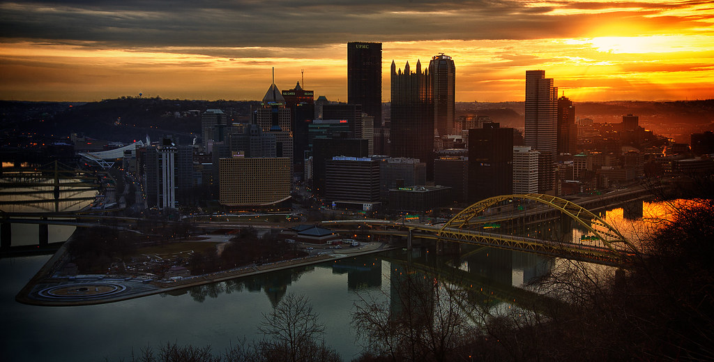 sunrise over pittsburgh sunrise over downtown pittsburgh f flickr. Black Bedroom Furniture Sets. Home Design Ideas