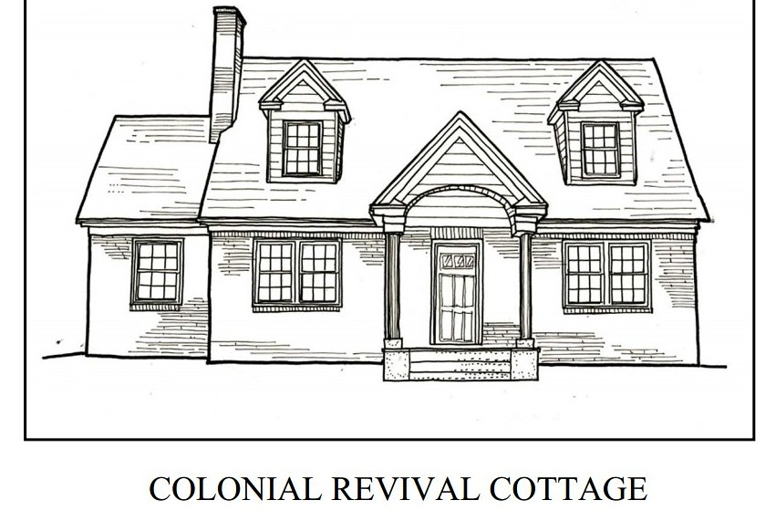 Colonial Revival Cottage Coloring Book Page Roanoke