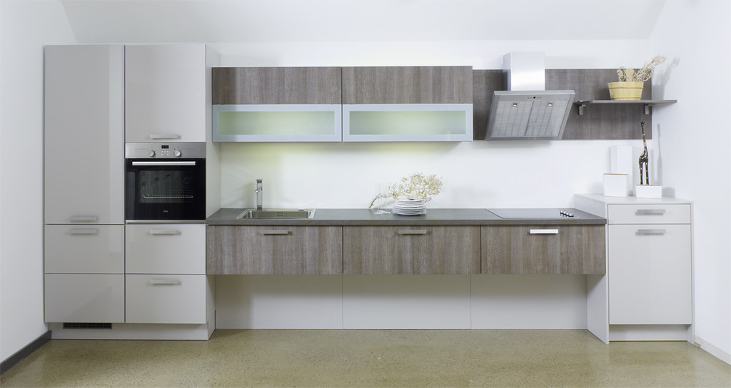 Bauformat modern grey distressed wood wall mounted kitch for Grey kitchen wall units