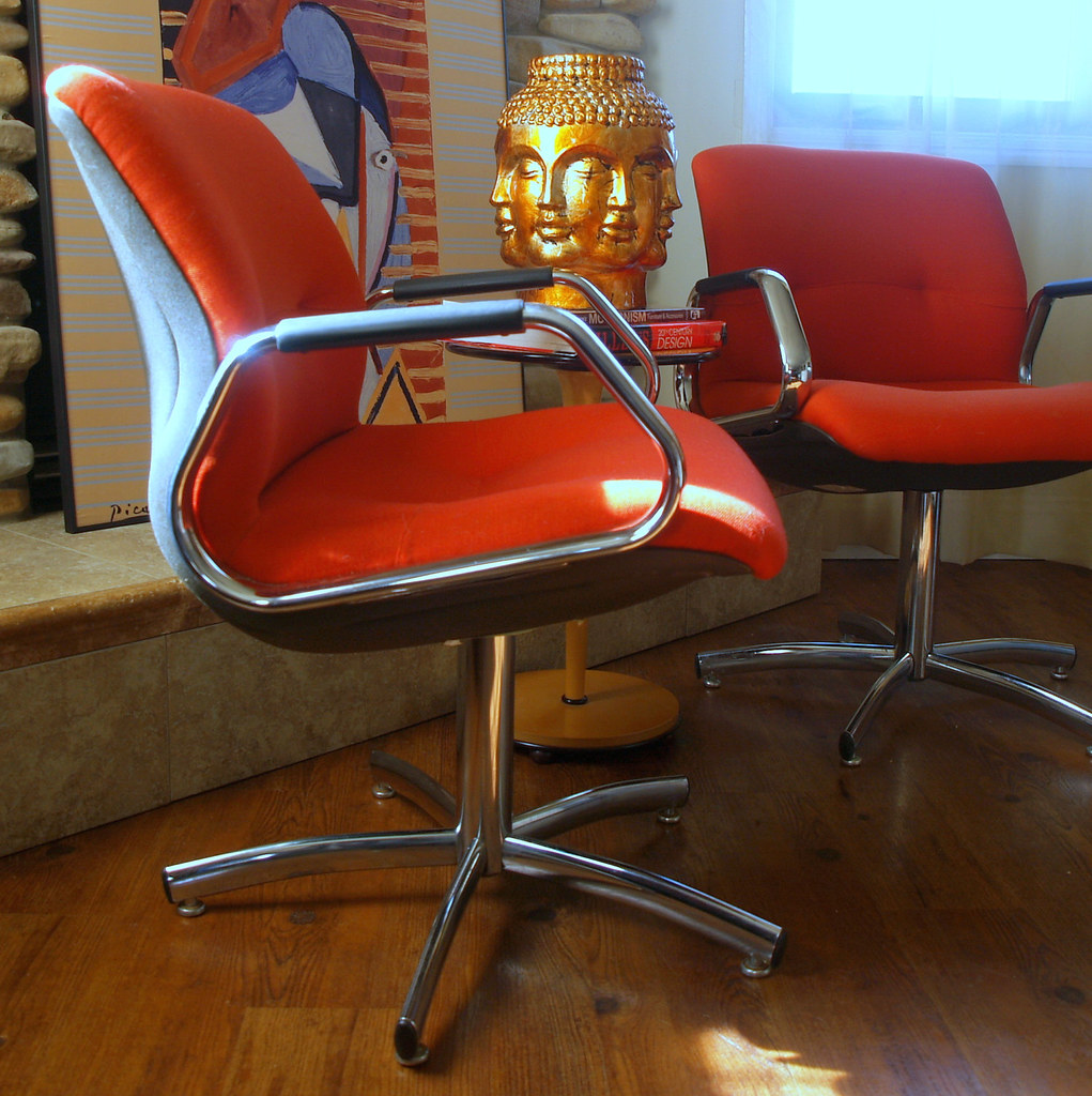 Charmant ... Charles POLLOCK STYLE STEELCASE Chairs Vintage Modern Office Conference  Executive Chairs Chrome Swivel Base Mid