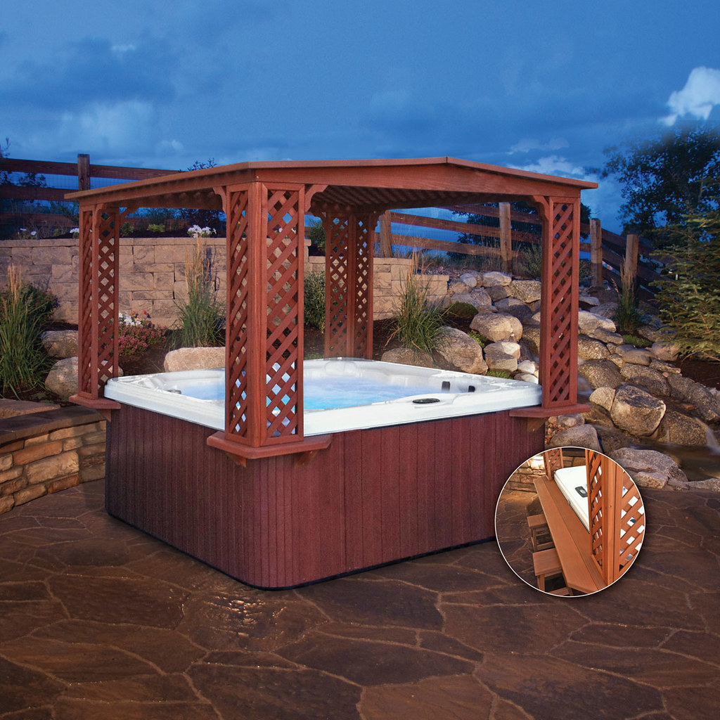 Cal designs top lip gazebo with bar cal spas photo for Cal spa gazebo