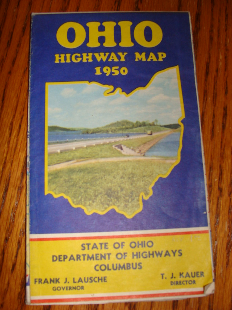 Ohio Road Map 1950 No Interstates