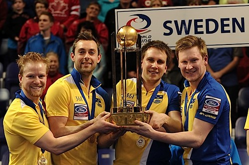 Victoria B.C.April 7,2013.Ford Men's World Curling Championship.Gold Medalist.Sweden.skip Niklas Edin,third Sebastian Kraupp,second Fredrik Lindberg,lead Viktor Kjall.CCA/michael burns photo | by seasonofchampions