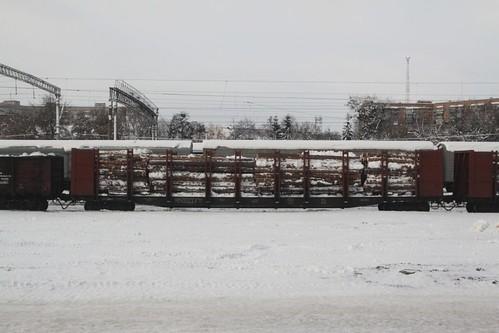 Ukrainian Railways log wagon in the yard at Fastiv