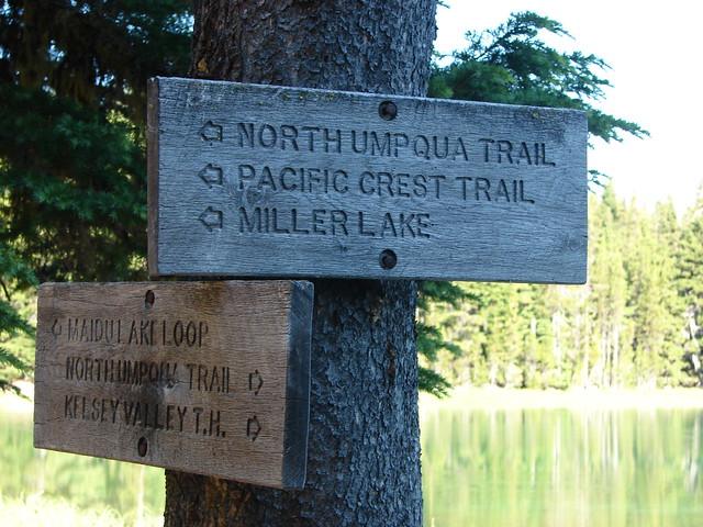 Trail signs at Maidu Lake