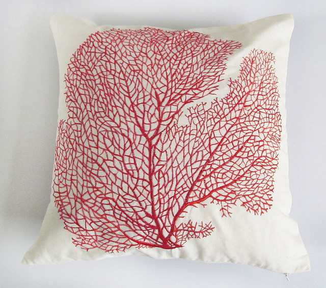 Ocean themed off white pillow with red coral fan Flickr - Photo Sharing!