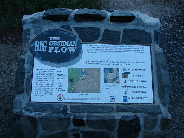 Interpretive sign at the Big Obsidian Flow