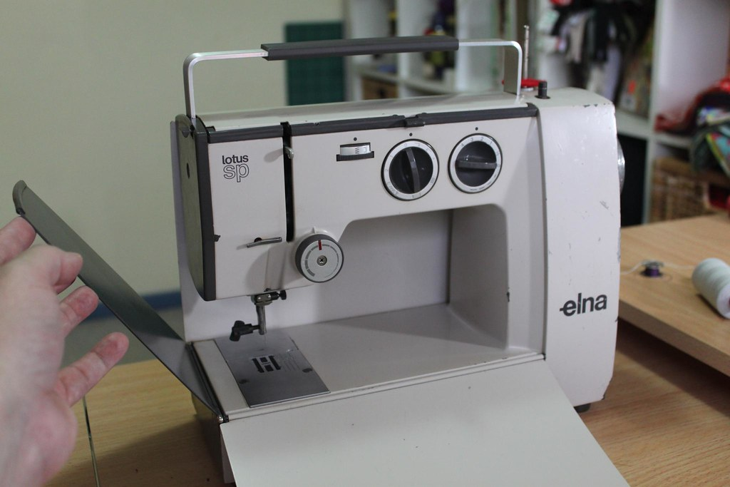 Elna Lotus SP My Dad Found This Sewing Machine In An Op Sh Flickr Impressive Elna Lotus Sp Portable Sewing Machine