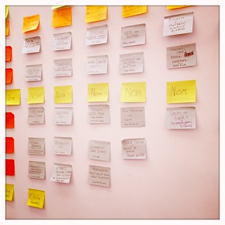 Agenda wall at PodCamp WesternMass 5 #pcwm | by mmpartee