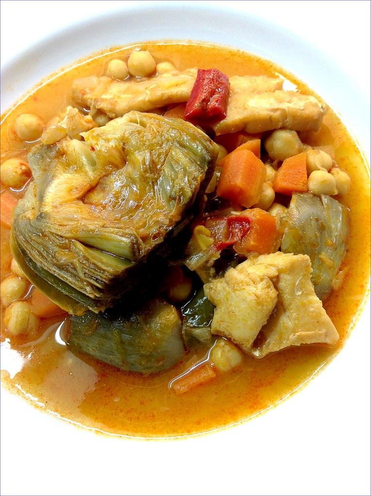 Alcachofas con garbanzos 1 dolitalasrecetas de mis - Bacalao con garbanzos y patatas ...