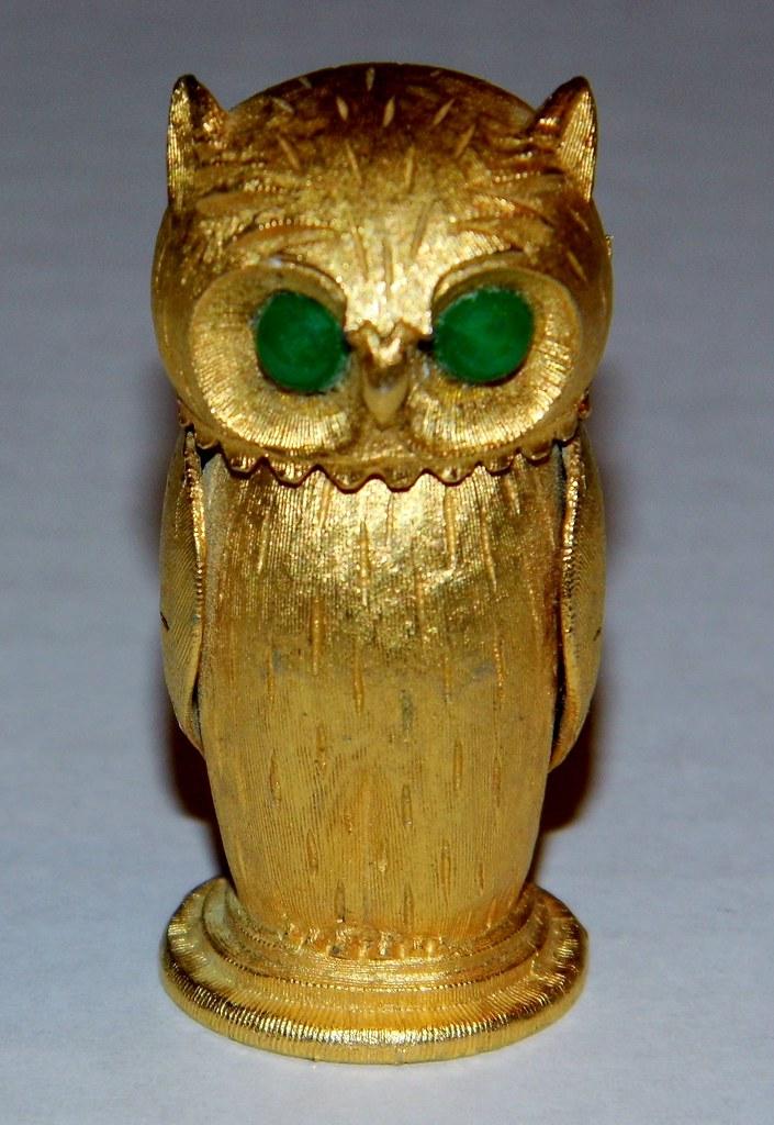 Vintage Goldtone Owl-Shaped Cigarette Lighter, Copyright F ...