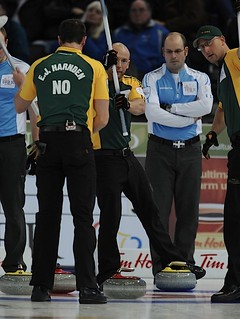 Edmonton Ab.Mar6,2013.Tim Hortons Brier.Northern Ontario third Ryan Fry,Quebec skip Jean Michel Menard.CCA/michael burns photo | by seasonofchampions