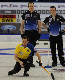 Victoria B.C.April 5,2013.Ford Men's World Curling Championship.Sweden third Sebastien Kraupp,Scotland second Scott Andrews,lead Michel Goodfellow.CCA/michael burns photo | by seasonofchampions