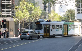 Friday lunchtime: eastbound tram meets westbound car in Flinders Lane | by Daniel Bowen
