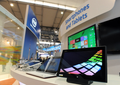 Smartphones and Tablets at Intel Booth, Mobile World Congress 2013 | by Intel Photos
