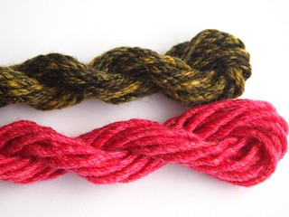 left over-green 5yds-pink 8yds-double chain plied | by yarnloopie