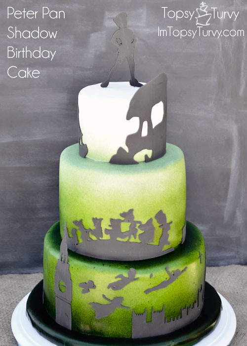 Peter Pan Silhouette Shadow Ombre Fondant Birthday Cake Flickr