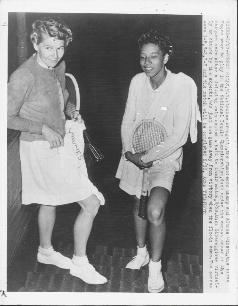 Althea Gibson with Wimbledon Champ Louise Brough 1950 New…