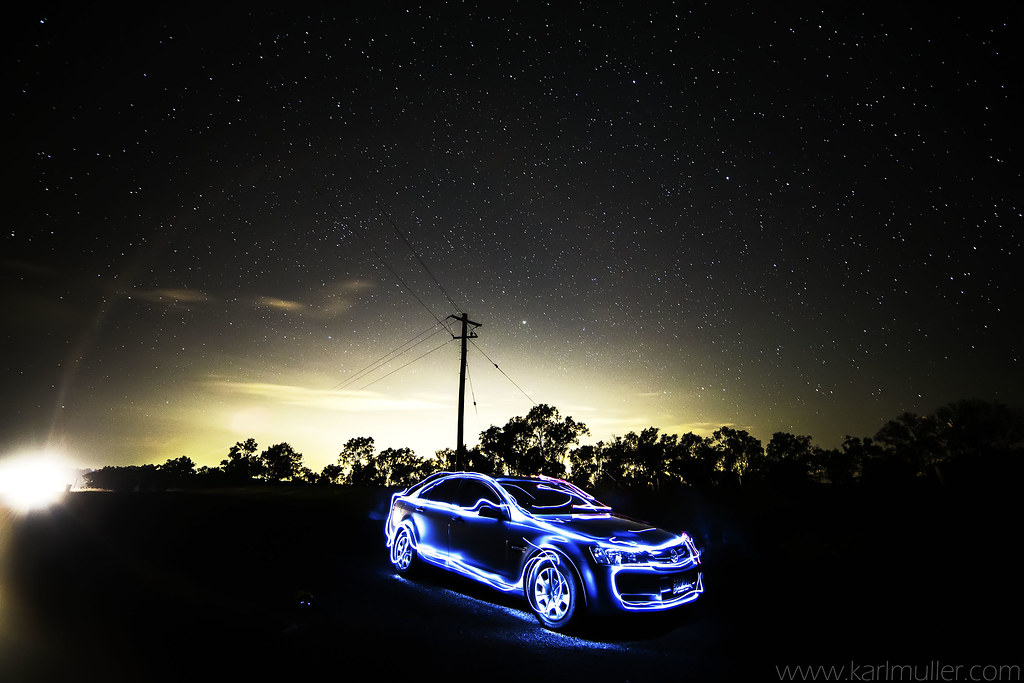 Car Light Painting And Night Sky The Super Car From Tron