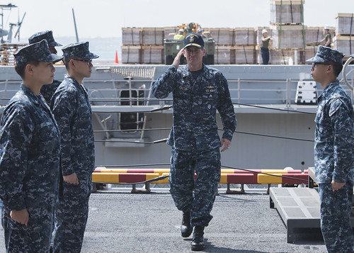 WHITE BEACH, Okinawa – Rear Adm. Marc H. Dalton, commander, U.S. Amphibious Force 7th Fleet, visited amphibious assault ship USS Bonhomme Richard (LHD 6), Aug. 18.