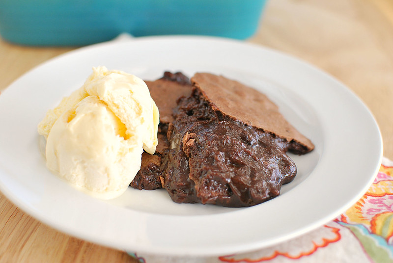 Brownie Pudding - tastes like brownie batter with a crackly brownie top! The richest, most decadent dessert!