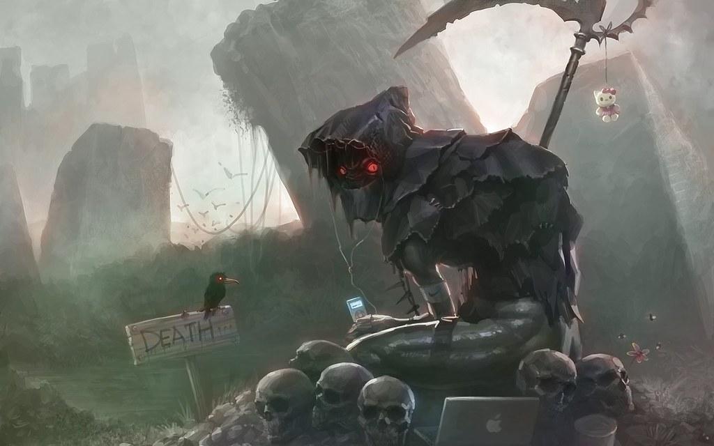 Hd wallpaper eyes - Skulls Death Computers Music Birds Desert Fantasy Art Hell