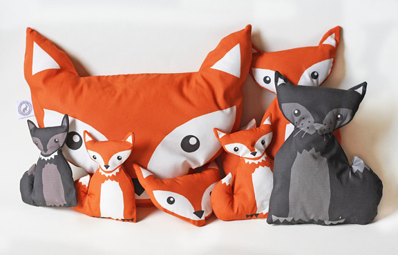 fox pillow  foxes  dolls and wolfs