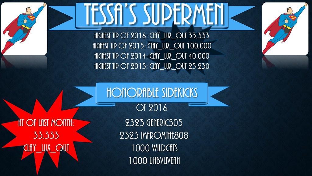 Jade's Supermen highest tippers