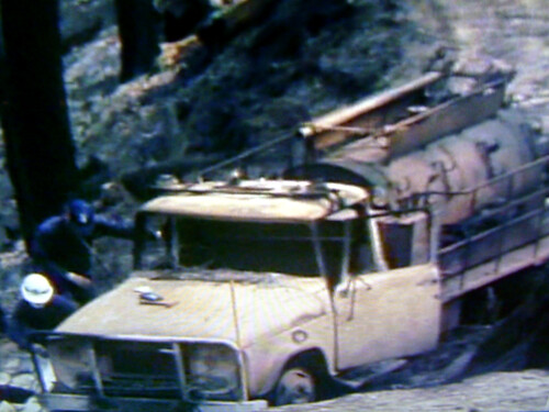 Channel Nine 1983 news report showing Panton Hill CFA truck burned out.