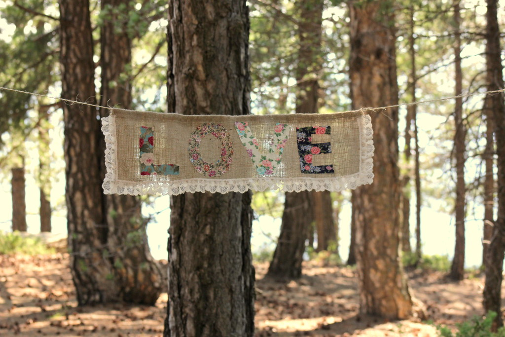 BURLAP LOVE BANNER with Floral Letters and Creme Ruffle La ...
